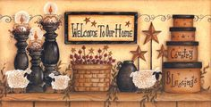 Welcome to Our Home by Mary Ann June Country Sheep on Shelf Framed Art Print Picture Artwork Primitive Folk Art, Primitive Crafts, Country Primitive, Primitive Labels, Primitive Homes, Country Art, Country Decor, Country Life, Pictures To Paint