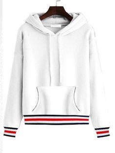 82bffc1fa2c Drawstring Kangaroo Pocket Striped Loose Hoodie Kangaroo