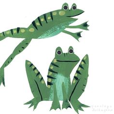 penelope dullaghan — Today is rainy, so these guys say hello. Autumn Illustration, Children's Book Illustration, Frog Drawing, Frog Art, Cute Frogs, Sketchbook Inspiration, Collage, Textiles, Illustrators