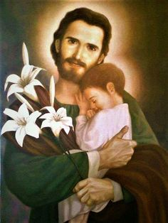 Saint Joseph and his Saviour St Joseph Catholic, Catholic Art, Catholic Saints, Jesus Laughing, Bride Of Christ, Blessed Mother Mary, Holy Mary, Religious Images, Fathers Love