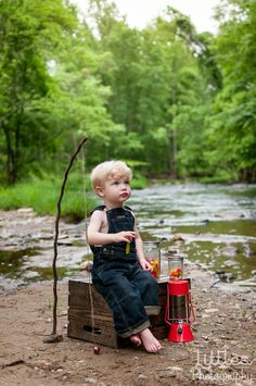 Gone fishing mini session. Children's photography. Baby boy photography. DIY props. ©Littles Photography.