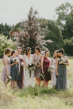 942665e78ec art nouveau wedding party in fall tones Bridesmaids In Different Dresses