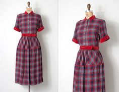 vintage 1940s dress / red and grey 50s plaid wool dress / Welcoming Winter by SwaneeGRACE on Etsy https://www.etsy.com/listing/251436138/vintage-1940s-dress-red-and-grey-50s