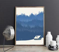 Plakat w stylu vintage z autorską grafiką inspirowaną zimowymi krajobrazami Kanady.   Drukowany za pomocą ekologicznych, bezwonnych tuszy pigmentowych EPSON Ultra K3 Ink. Wydrukowany na papierze  fotograficznym Tecco Matt dającym gwarancję głębokich czerni i nasyconych kolorów. Papier biały, gładki, z ... Corridor Design, Tapestry, Retro, Blue, Posters, Vintage, Home Decor, Canada, Paper Board