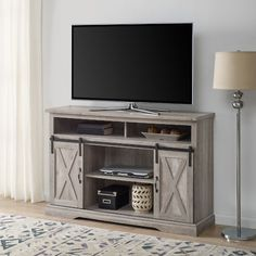 Modern Farmhouse TV Stand in Grey Wash - Walker Edison your home with the storage space you need by incorporating this TV stand into just about any room. With a versatile design, this TV stand can be utilized not only as an en Sideboard Furniture, Living Room Furniture, Living Room Decor, Living Rooms, Hooker Furniture, Furniture Makeover, Modern Furniture, Bedroom Decor, Highboy Tv Stand