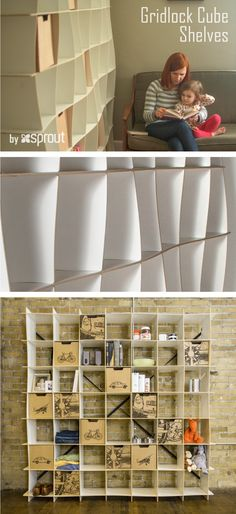 Gridlock cubes shelves are simple, minimalist shelving units constructed from a series of interlocking parts. The modern bookshelves are made of CARB-2 compliant MDF, and can hold up to 30 lbs in each cubby, and 300 lbs in the whole unit.   Learn more about our white bookcases at Sprout.