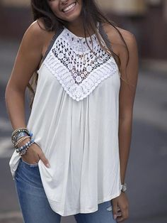 Solid Crochet Hollow Out Halter Casual Blouse Shop Women's Trendy Clothes Online. Boho Fashion, Fashion Outfits, Womens Fashion, Fall Fashion, Fashion Trends, Mode Jeans, Lace Tunic, Loose Shirts, Mode Outfits