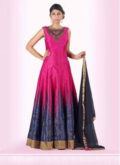 Accentuate Silk Anarkali Suit