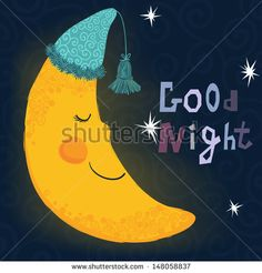 Vector illustration of sleeping smiling moon in the nightcap - stock vector