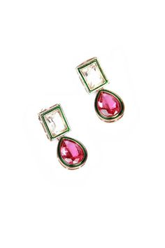 White/Pink Kundan Earring from Johharri on Brandsfever Resin Jewelry, Diamond Jewelry, Antique Jewelry, Jewelry Box, Jewelry Trends, Jewelry Accessories, Jewelry Design, India Jewelry, Ethnic Jewelry