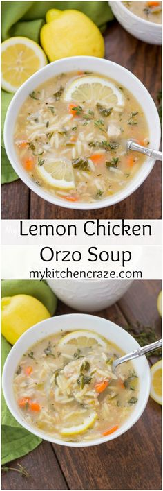 Lemon Orzo Soup ~ http://mykitchencraze.com ~ Enjoy this delicious soup any time of the year. Perfect when you're under the weather or just craving a light refreshing soup!