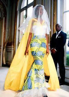 Eloi Sessou Ankara Print Fabric Wedding Dress ~African fashion, Ankara, kitenge, African women dresses, African prints, Braids, Nigerian wedding, Ghanaian fashion, African wedding ~DKK