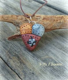 Patchwork Heart Pendant Necklace-Metallics by TNTPatterns on Etsy
