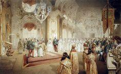 Zichy Mihály (1827 - 1906)  Hungarian painter Az Alekszej nagyherceg és Mária Alexandrovna esküvőjéről készült kép.