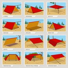 12 Emergency/Survival/Camping Shelter variations made from a standard 9 x 12 or similar size Tarp. Urban Survival, Survival Life, Wilderness Survival, Survival Prepping, Survival Gear, Survival Hacks, Tarp Shelters, Camping Shelters, Shelter Tent