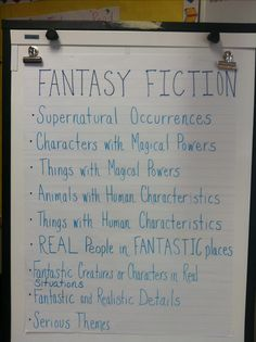 When reading, look for the elements of fantasy fiction. When reading, look for the elements of fantasy fiction. Fiction Anchor Chart, Ela Anchor Charts, Reading Genre Posters, Reading Strategies Posters, 5th Grade Writing, 5th Grade Reading, Writing Fantasy, Fantasy Fiction, Fantasy Books