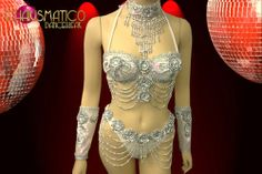 CHARISMATICO Showgirl Style Silver Bikini Top w/ Embellishments Matching Thong