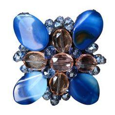 Broche de aspa de agatas azules y ovalos cristal www.sanci.es Unique, Rings, Floral, Flowers, House, Accessories, Jewelry, Crystals, Blue Nails