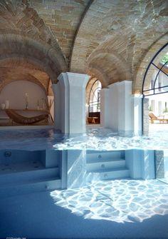 Oh my gosh! It looks like a pool that Lara Croft would have! Minimalism Art, Outdoor Pool, Outdoor Decor, Inside Pool, Swimming Pool Designs, Swimming Pools, Dream Pools, Sunroom, Buildings