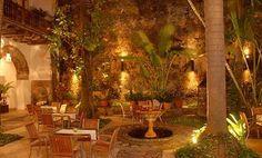 Same courtyard at night