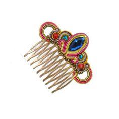 Peinecillo Piedra Azul Soutache Tutorial, Macrame Tutorial, Ballroom Jewelry, Soutache Jewelry, Hair Comb, Shibori, Headpiece, Jewelry Crafts, Headbands