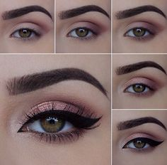 The most beautiful make-up for all occasions (weddings, graduation . - Make-up How to Lidschatten - Makeup Eye Looks, Eye Makeup Steps, Beautiful Eye Makeup, Simple Eye Makeup, Eyebrow Makeup, Eyeshadow Makeup, Natural Makeup, Makeup Inspo, Makeup Inspiration