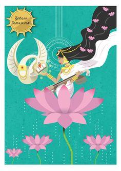 Goddess Saraswati devi 722 by scribbletalk Saraswati Goddess, Goddess Art, Saraswati Mata, Durga, Pichwai Paintings, Indian Art Paintings, Saraswati Painting, Indian Illustration, Indian Folk Art