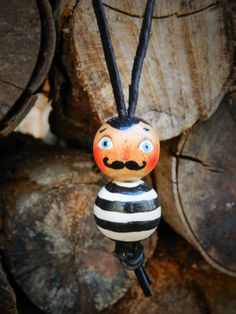 Bead, charm, necklace, wooden, handpainted wooden bead necklace, circus man, stripes, wooden doll by malinkaartz on Etsy