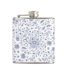 #Modern doodles blue esoteric moons stars flowers hip flask - #drinkware #cool #special
