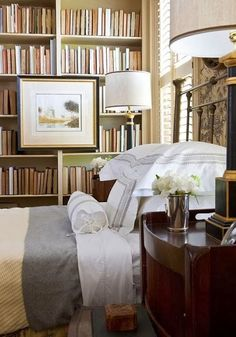 Bedroom library.