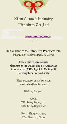 Titanium alloy sheet /XACTI: Xi'an Aircraft Industry Titanium Co.,Ltd--AMS4928 ... Aircraft, Industrial, Products, Aviation, Plane, Airplanes, Planes, Airplane, Beauty Products