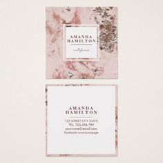 Elegant Stylish Gold Blush Pink marble rose gold Square Business Card - hair stylist gifts business cyo diy custom create