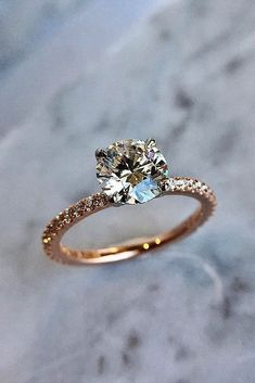 6 Most Popular Engagement Ring Designers ❤️ engagement ring designers pave band round cut rose gold solitaire ❤️ More on the blog: https://ohsoperfectproposal.com/engagement-ring-designers/