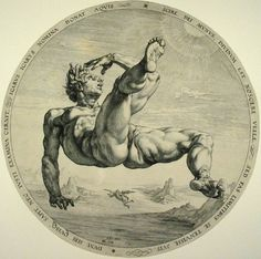 This is one of four paintings by dutch artist Goltzius Hendrick (1558-1617), each depicting a famous faller, punished for his hubris. As a father, I hate to imagine what Daedalus is feeling in this version of the famous story.