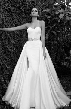Featured Dress: Elihav Sasson; Strapless jewel belted wedding dress idea with overskirt.