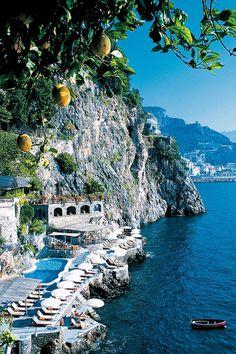 On the coast at Hotel Santa Caterina in Amalfi. places to travel Hotel Santa Caterina in Amalfi, Italy Beautiful Places To Travel, Best Places To Travel, Cool Places To Visit, Wonderful Places, Amalfi Italy, Amalfi Coast, Italy Coast, Italy Italy, Hotel Amalfi
