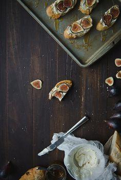 Fig, ricotta, and honey tartines.