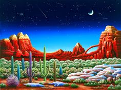 Red Rocks #5 by Andy Russell ~ desert ~ starry night sky ~ shooting star ~ crescent moon ~ cactus