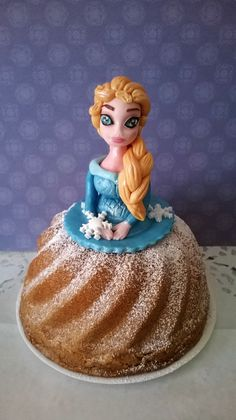 Handmade Frozen Elsa Sugar Cake Topper With Edible Pearls & Original Austrian Cake by Karolinas Sugardream on Gourmly