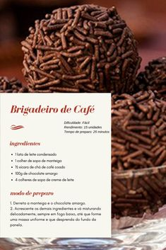 Kaffee Brigadeiro Rezept - sobremesas e doces - Cookie Recipes, Dessert Recipes, Confectionery, Cooking Time, Food Hacks, Sweet Recipes, Tapas, Food And Drink, Yummy Food