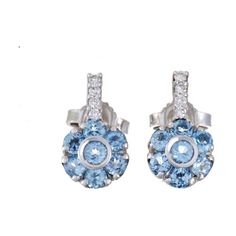 Pre-owned Pasquale Bruni Fiori 18K White Gold Diamond and Topaz Flower... ($870) ❤ liked on Polyvore featuring jewelry, earrings, white gold flower earrings, white gold diamond jewelry, flower earrings, sparkly earrings and diamond earrings