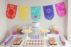 Mexican Crafternoon Dessert Table (cake and cookies by hello naomi) via Amy Atlas
