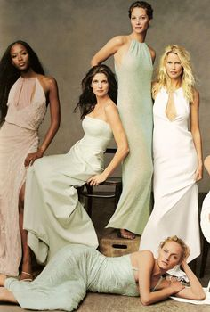 Naomi Campbell, Stephanie Seymour, Claudia Schiffer, Amber Valletta, Christy Turlington shot by Annie Leibovitz for US VOGUE November 1999 | Fashion Editor Paul Cavaco | Hair Julien D'Ys| Make-up Diane Kendal.