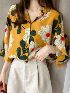 Women chiffonlong sleeve turn down collar office shirt geometric print loose casual tops plus size chemise femme 2019 - Mode Outfits, Casual Outfits, Fashion Outfits, Womens Fashion, Fashion Tips, Look Fashion, Korean Fashion, Grunge Fashion, 90s Fashion