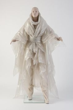 Gareth Pugh: Plastic coat and wrap ensemble, worn with tied kimono-style belt and calico trousers. Textiles, Gareth Pugh, Recycled Fashion, Future Fashion, Fabric Manipulation, Kimono Fashion, Fashion Show, Fashion Design, Costume Design