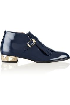 Pale-gold studded heel measures approximately 25mm/ 1 inch Navy polished-leather Fringed detail, concealed elasticated strap, almond toe Buckle-fastening monk strap