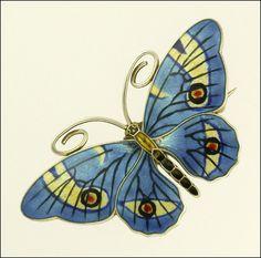 silver enamel butterfly pin