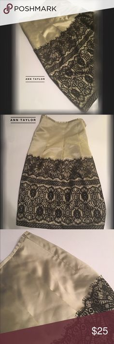 """Ann Taylor • Lace over Taupe Full Skirt S:12 NWNT NWNT • Ann Taylor • Stunning • Lace over Taupe • Full Skirt • Size: 12 • Flattering Darts • Silk/Satin Look • Great Condition • Approx 25"""" in length Ann Taylor Skirts A-Line or Full"""