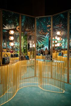 Bulgari FW 2016 — SIMONE FIORINI - This is themed. There is a tropical feel to this store. The colors are well balanced. Commercial Design, Commercial Interiors, Display Design, Wall Design, Vitrine Design, Retail Store Design, Retail Stores, Retail Interior, Design Studio