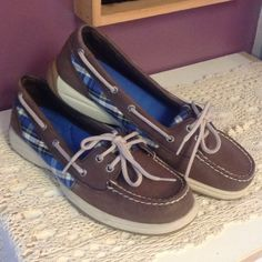 Sperry Top Sider leather/canvas shoes. Size 8.5 Sperry Top Sider Angelfish slip on shoes. Brown leather and blue plaid canvas. Inner sole is cushioned. Excellent condition. No box. Worn maybe once. Sperry Top-Sider Shoes Flats & Loafers